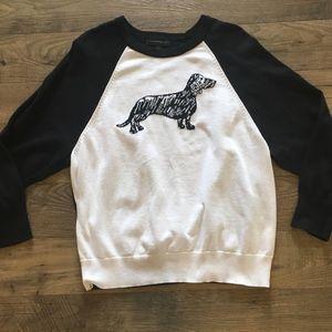 BANANA REPUBLIC Dachshund Weiner Dog Sweater L